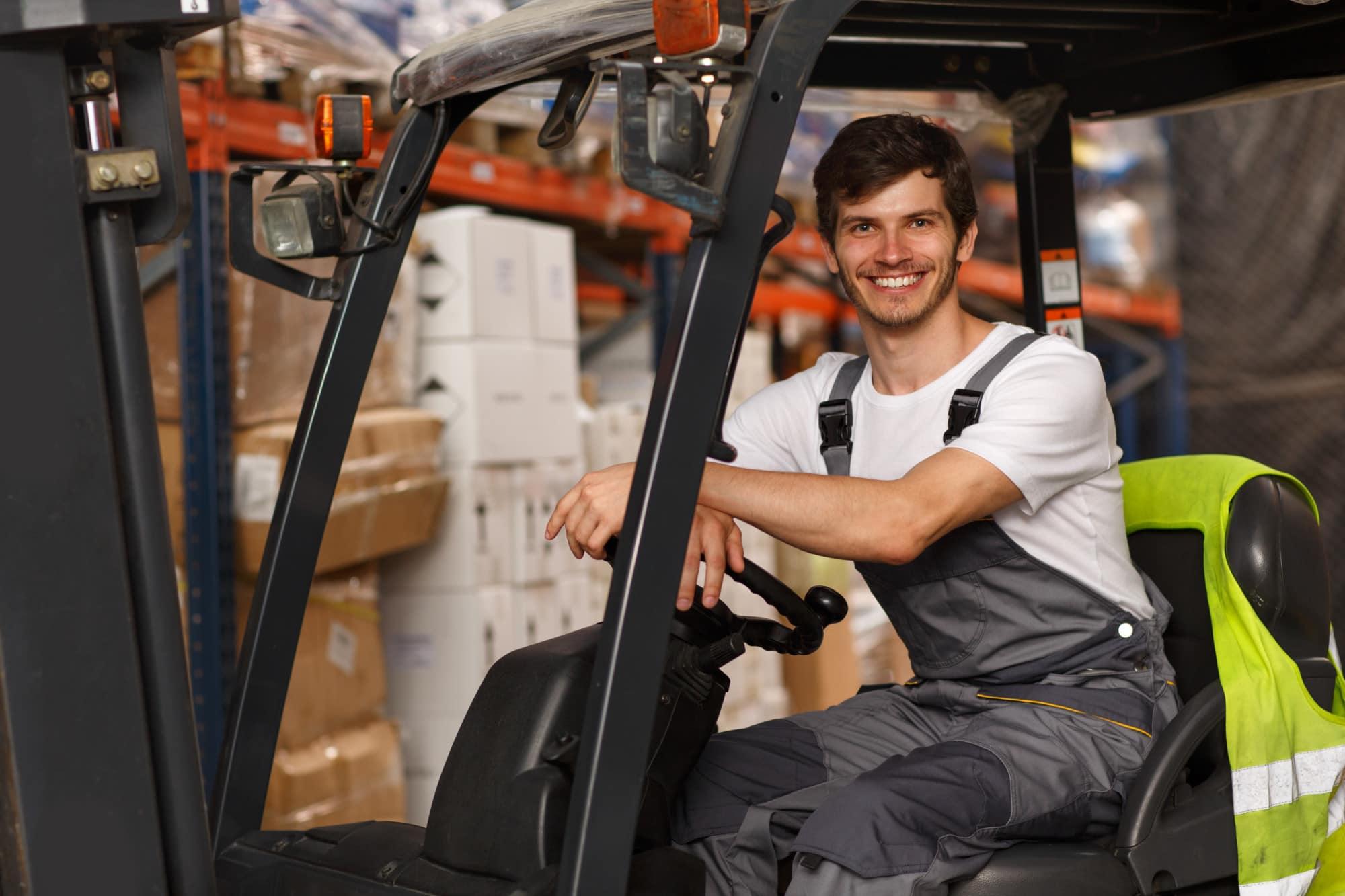 Happy forklift driver